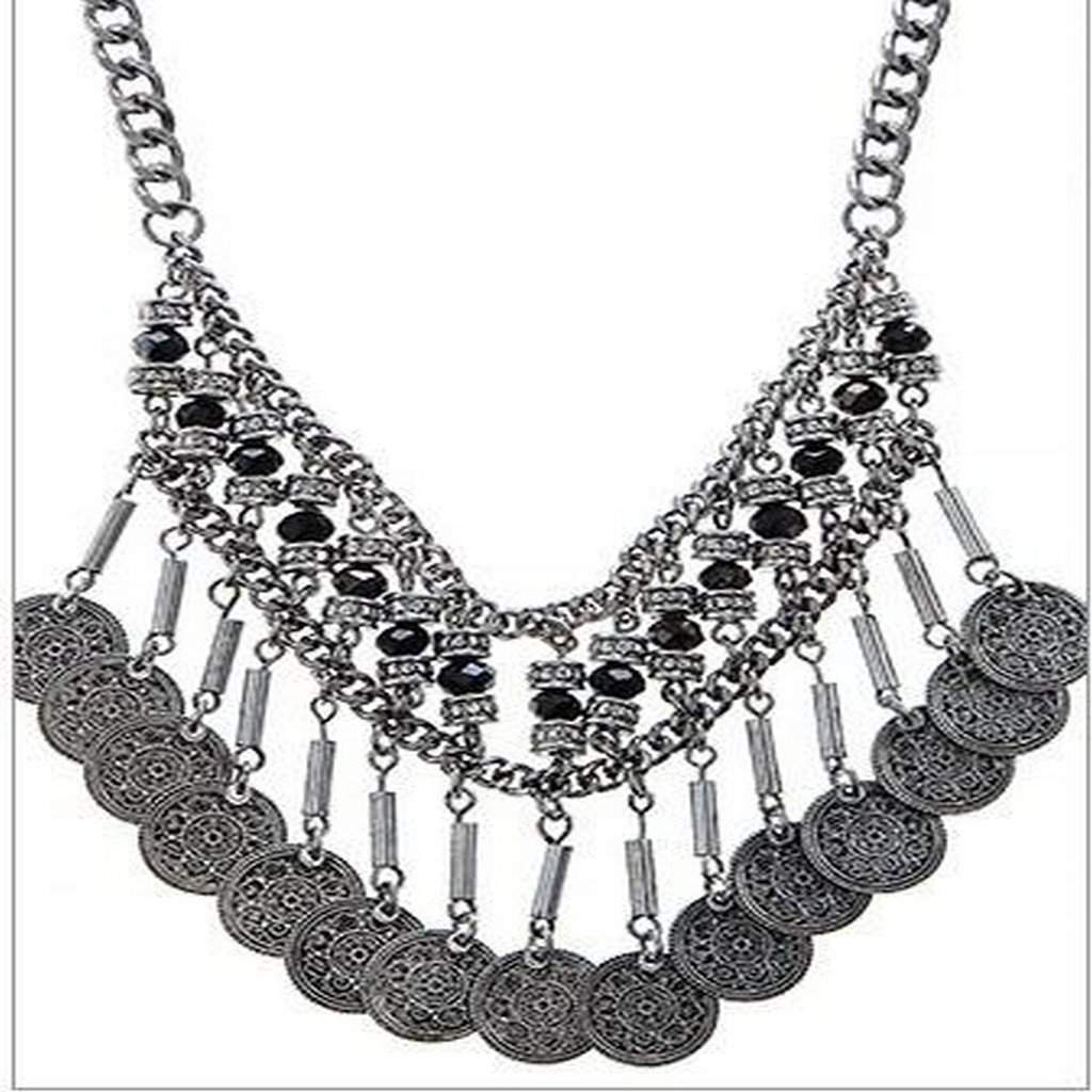 Silver Coin Boho Beaded Fringe Necklace