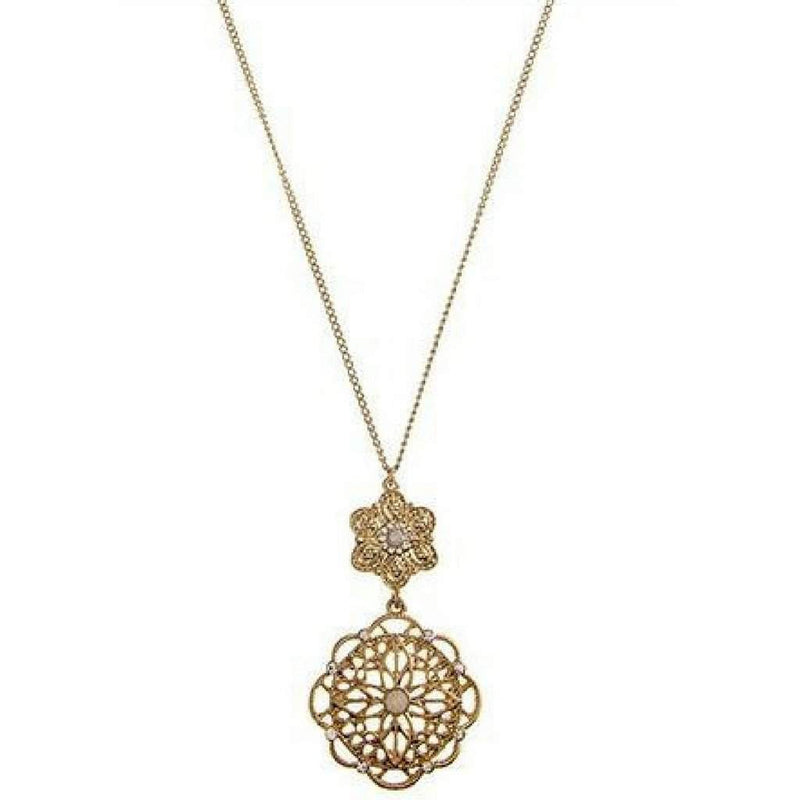 Gold Filigree Floral Crystal Pendant Necklace - JaeBee Jewelry