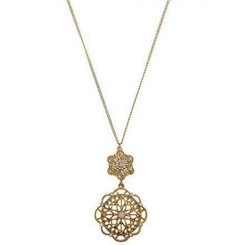 Gold Filigree Floral Crystal Pendant Necklace