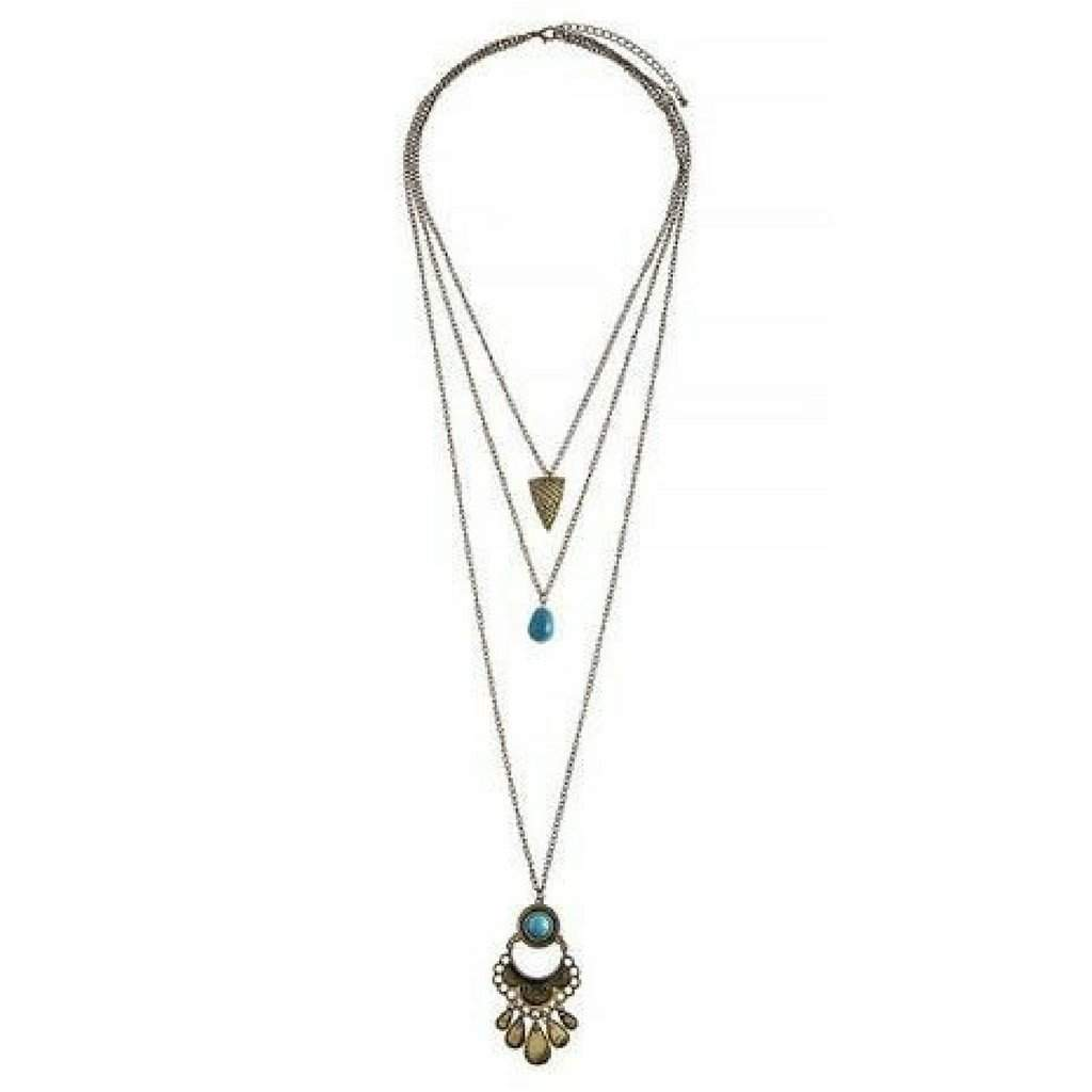 Antique Gold and Turquoise Stone Boho Necklace - JaeBee Jewelry