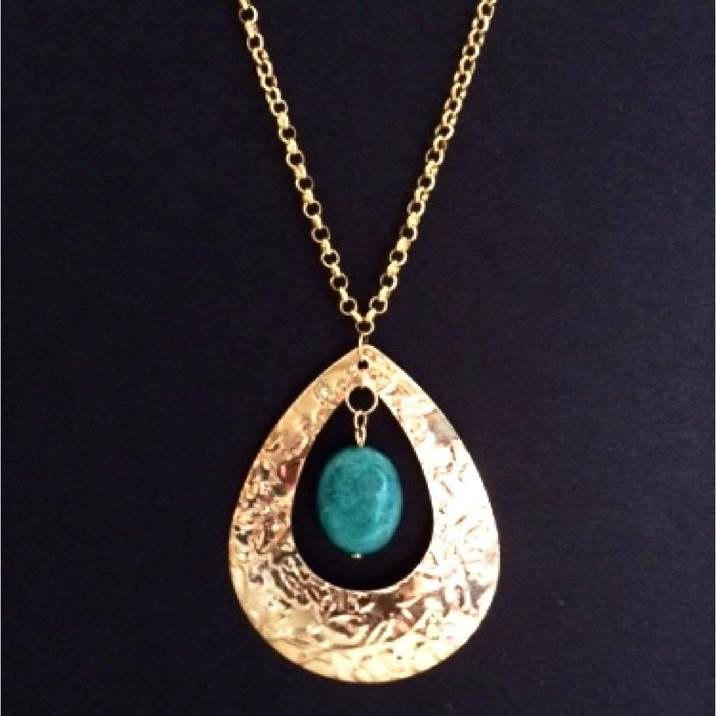 Gold Tone Teardrop Pendant with Green Amazonite Stone - JaeBee Jewelry