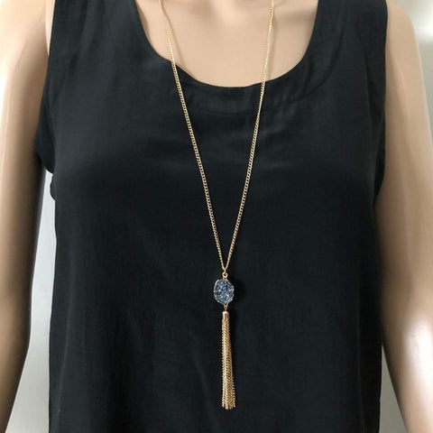 Gray Druzy Pendant and Gold Chain Tassel Necklace