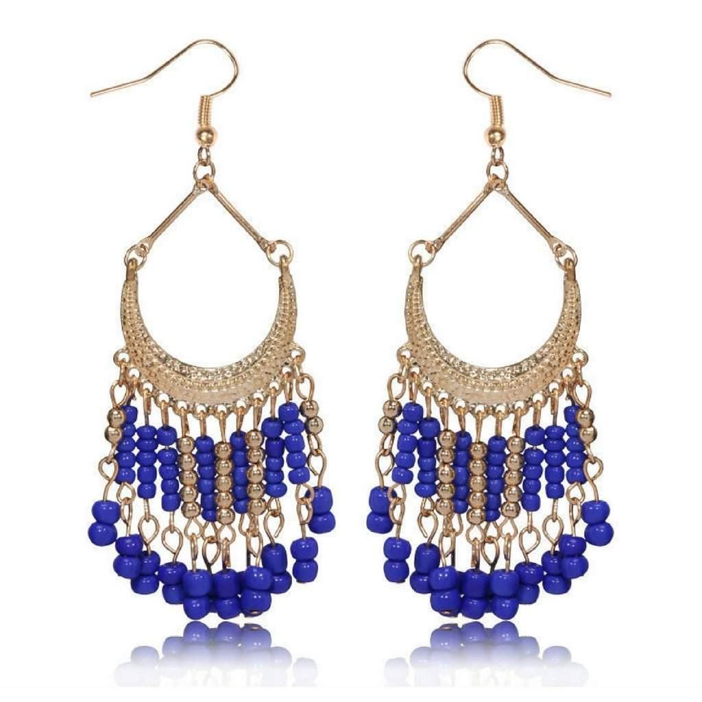 Blue and Gold Seed Bead Chandelier Earrings - JaeBee Jewelry