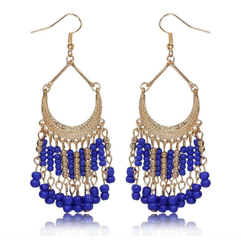 Blue and Gold Seed Bead Chandelier Earrings - JaeBee