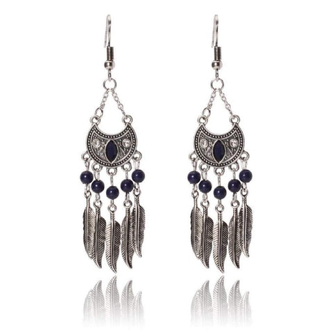 Blue and Silver Feather Chandelier Earrings