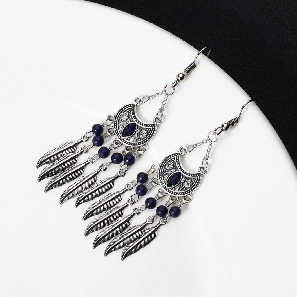 Blue and Silver Feather Chandelier Earrings - JaeBee Jewelry