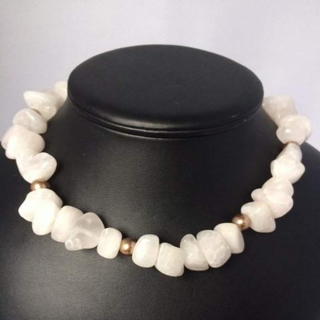 White Agate Beaded Necklace with Gold Swarovski Pearl Beads - JaeBee Jewelry