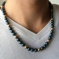 Mens Tahitian Blue and Gold Swarovski Beaded Necklace