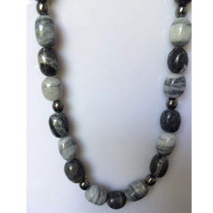 Mens Gray and Black Marble Stone Necklace