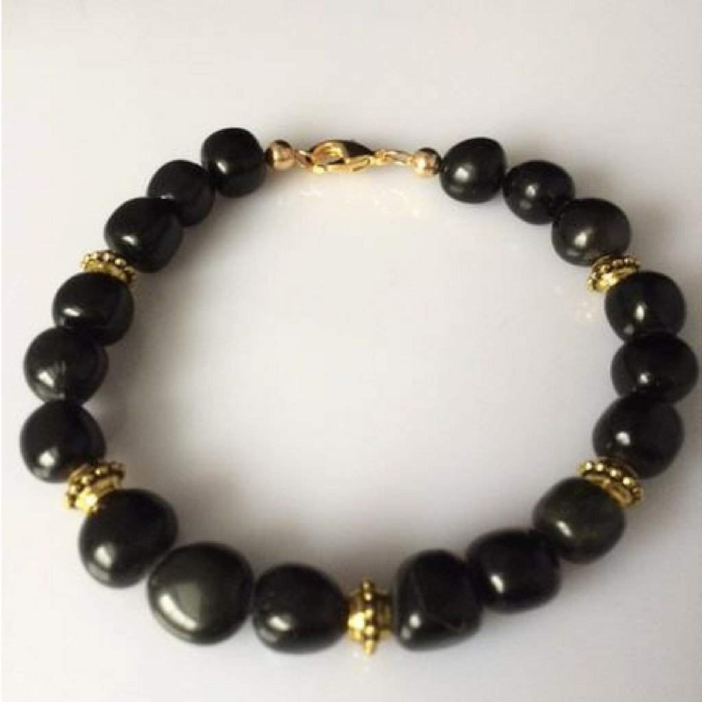 Mens Black Obsidian Pebble Beaded Bracelet with Gold Accent Beads - JaeBee Jewelry