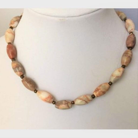 Unisex Redline Marble Beaded Necklace