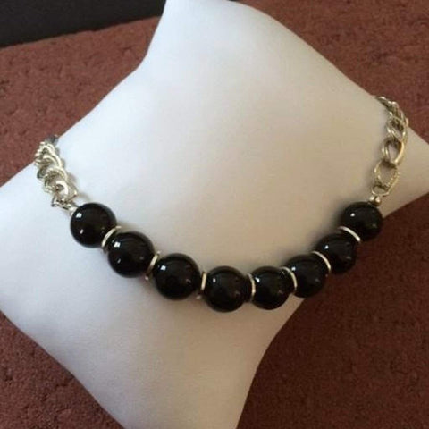Black Agate and Silver Chain Necklace