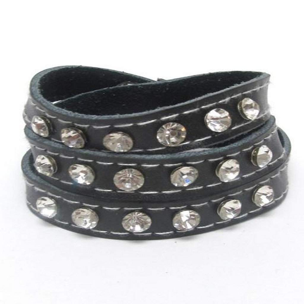 Black Leatherette Crystal Studded Wrap Bracelet - JaeBee Jewelry