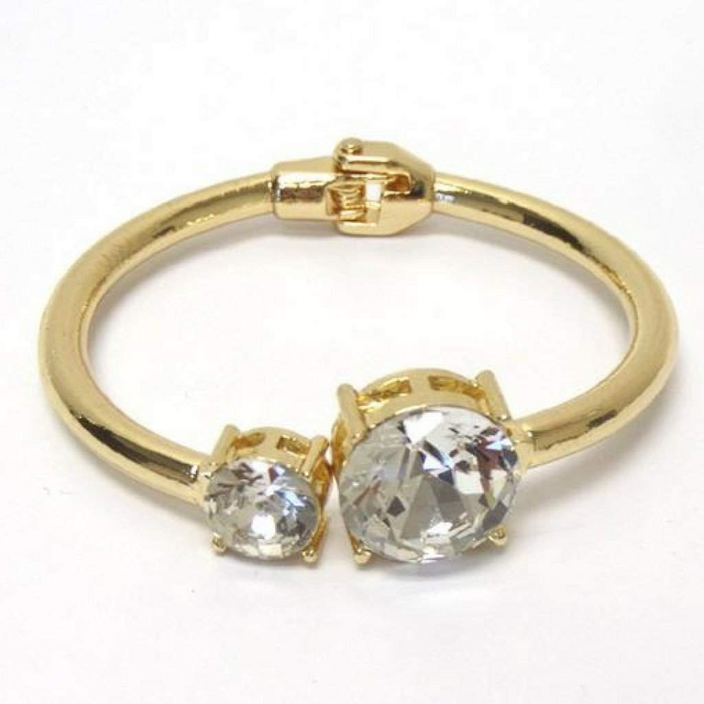 Gold and Crystal Stone Bangle Bracelet - JaeBee