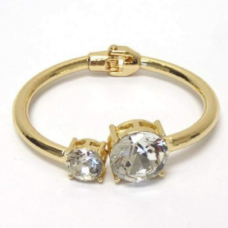 Gold and Crystal Stone Bangle Bracelet - JaeBee Jewelry