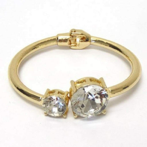 Gold and Crystal Stone Bangle Bracelet