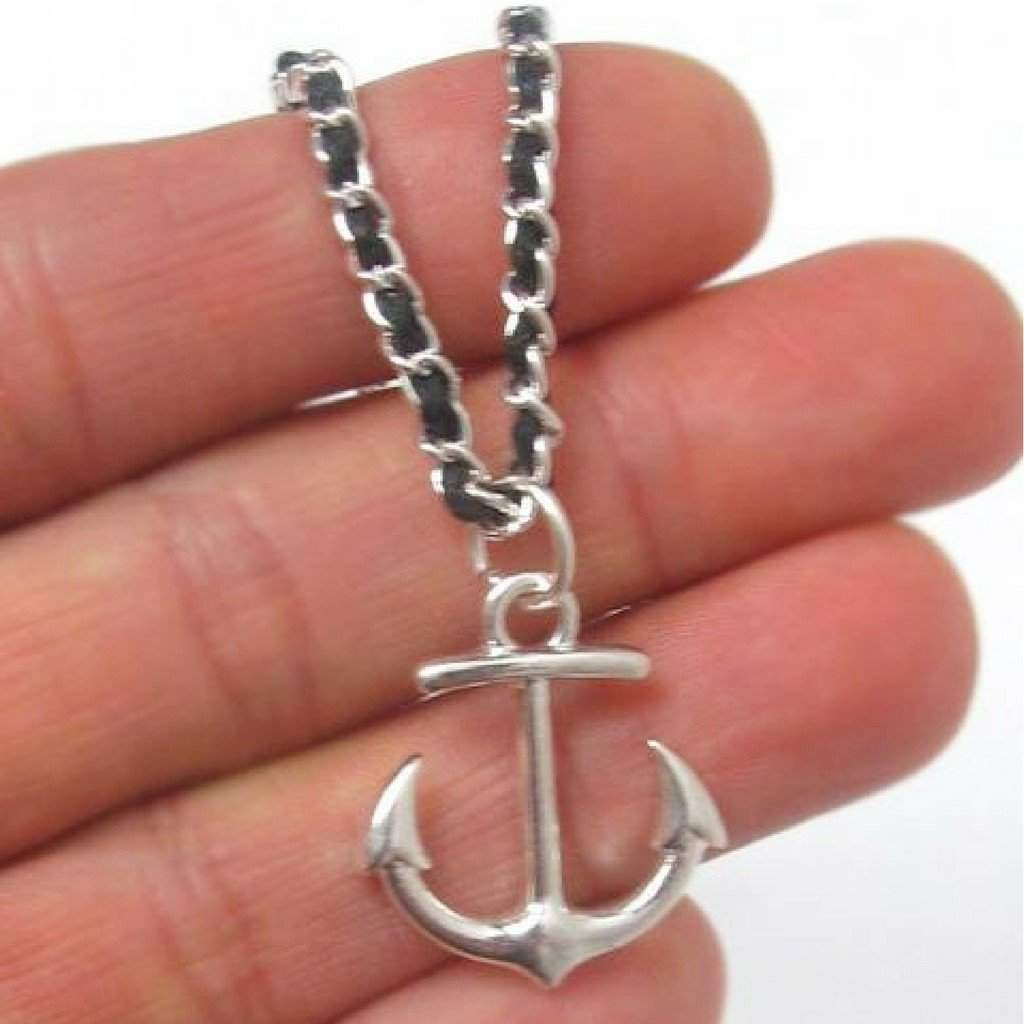Silver Anchor Charm Necklace - JaeBee Jewelry
