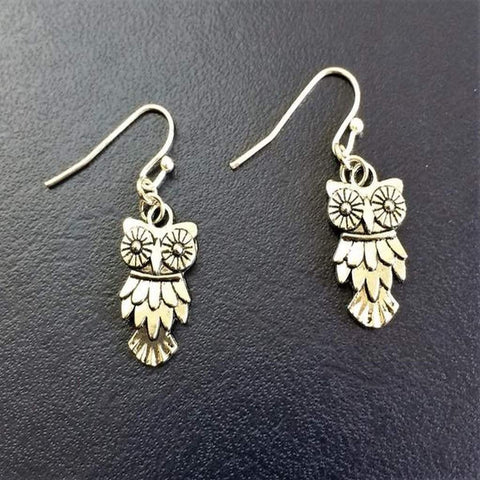 Owl Silver Textured Dangle Earrings