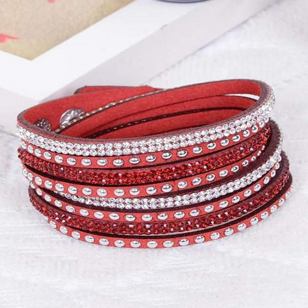 Red Leather Wrap Crystal Studded Bracelet - JaeBee