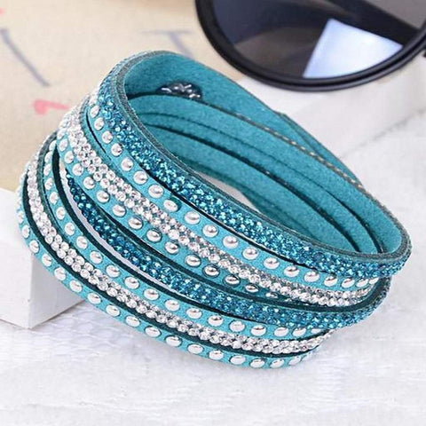 Blue, Red, or White Leather Wrap Crystal Studded Bracelet