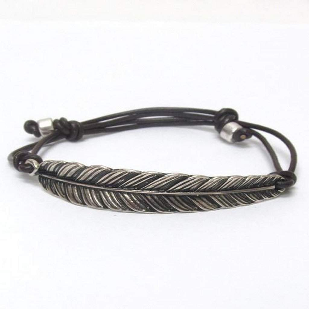 Antique Silver Leaf Adjustable Bracelet - JaeBee Jewelry