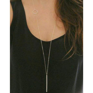 Bar and Circle Long Silver Necklace - JaeBee Jewelry