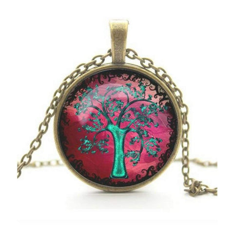 Tree Of Life Cabochon Pendant Necklace