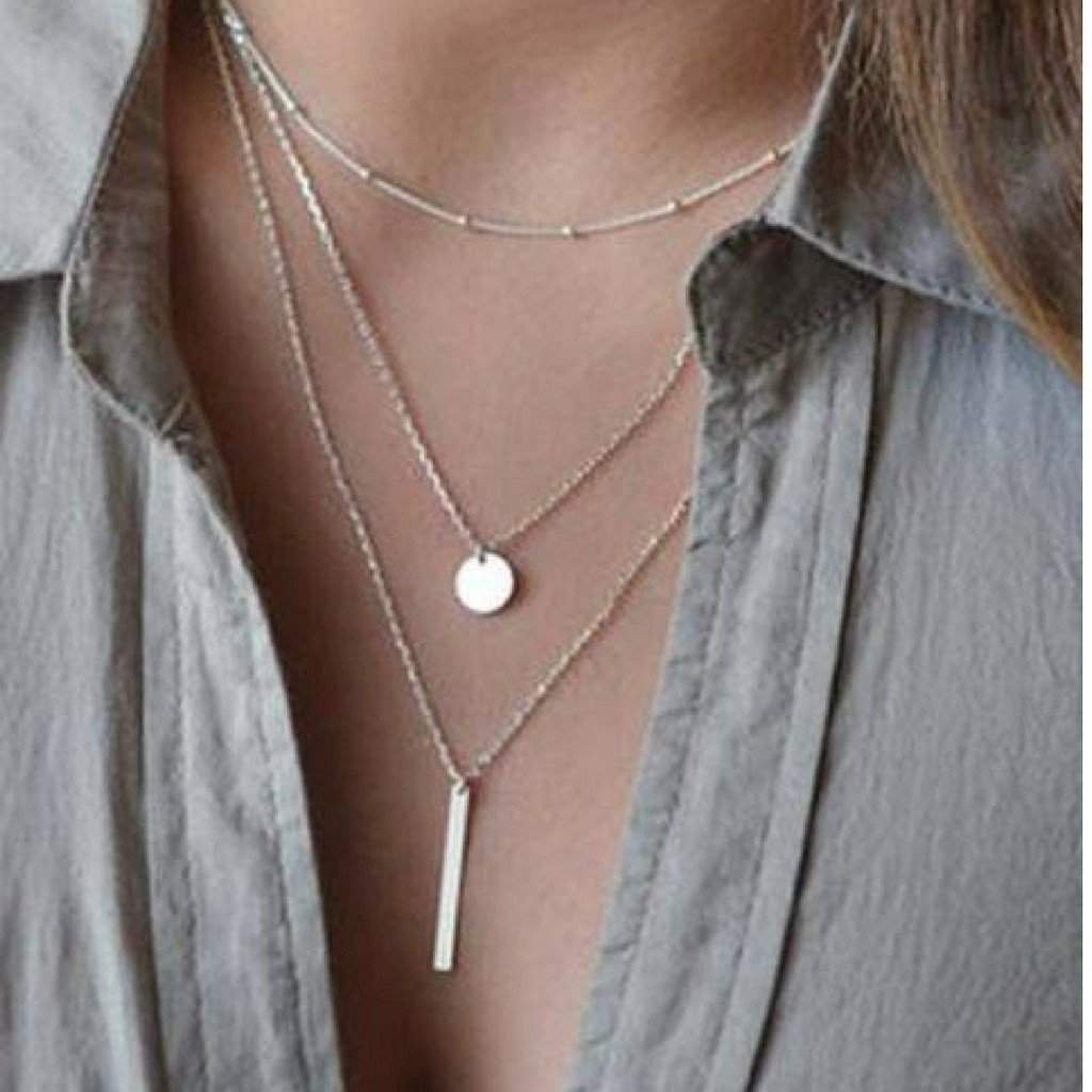 Silver Layered Bar and Disc Necklace - JaeBee Jewelry