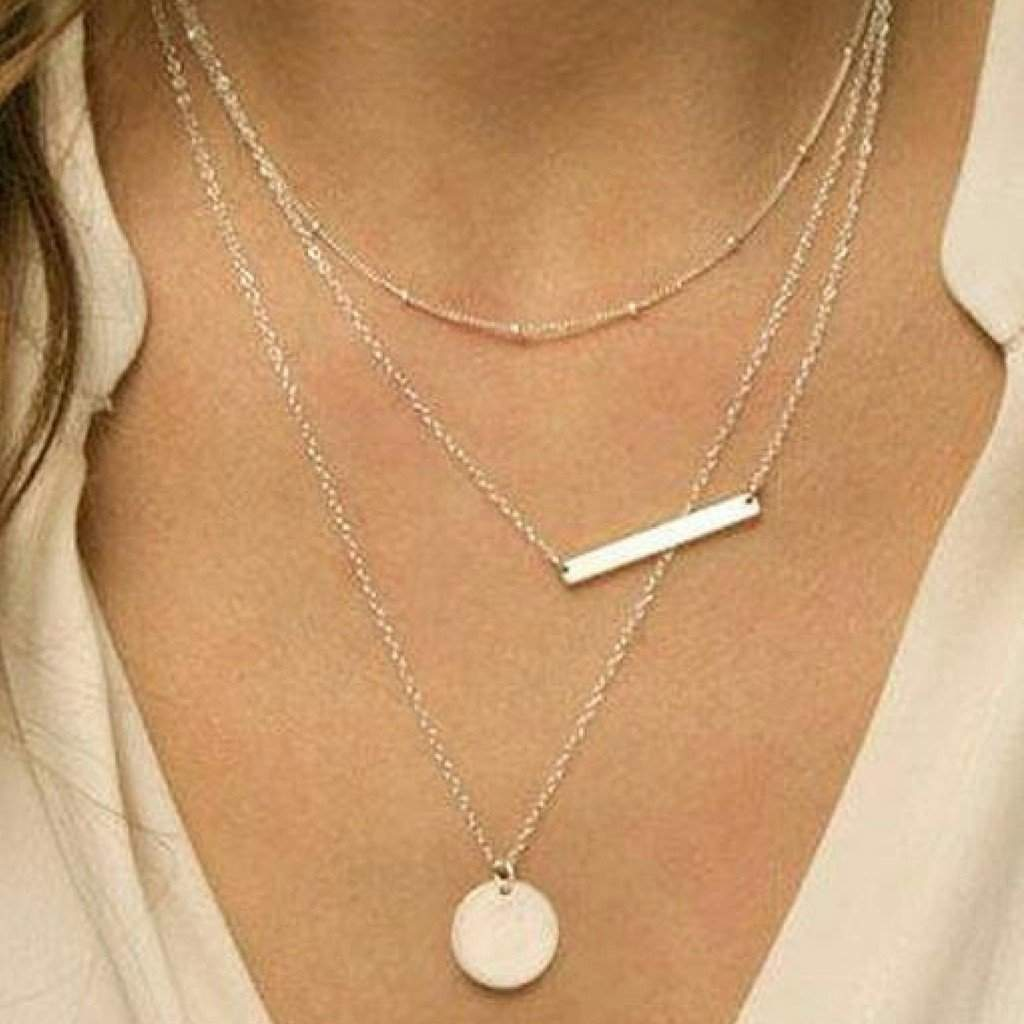 Triple Layered Silver Bar and Disc Necklace - JaeBee Jewelry