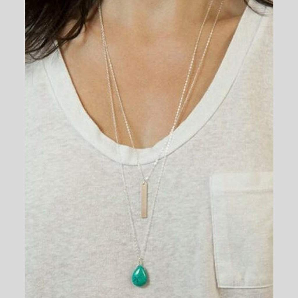 Layered Silver Chain Turquoise Stone and Simple Bar Necklace - JaeBee Jewelry