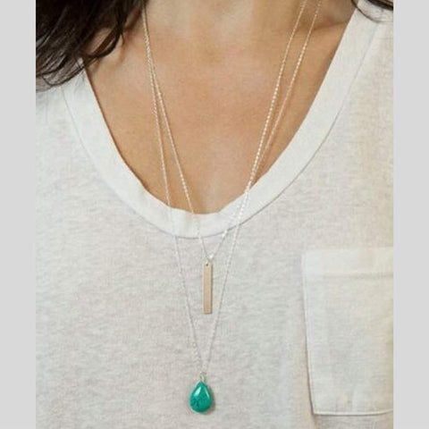 Layered Silver Chain Turquoise Stone and Simple Bar Necklace