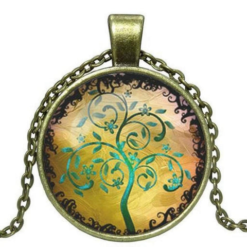 Antique Bronze Tree Of Life Cabochon Necklace