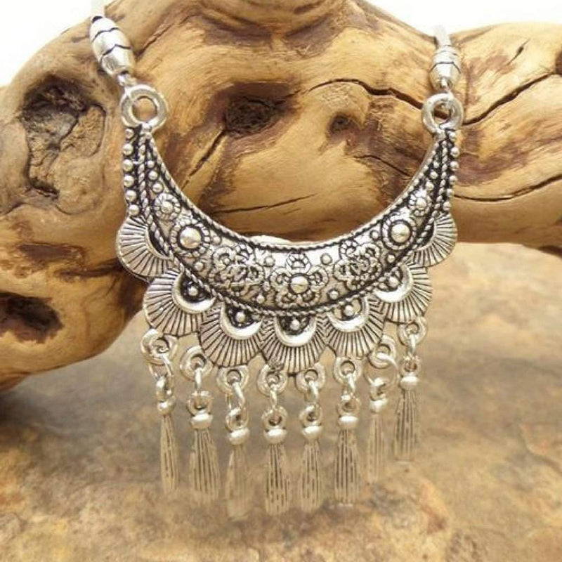 Vintage Tibetan Silver Bohemian Flower Chain Necklace - JaeBee Jewelry