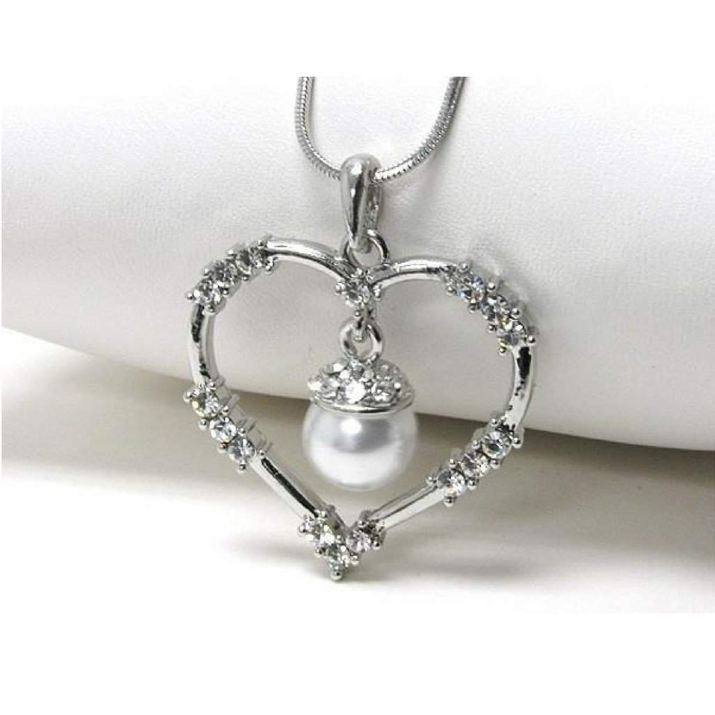White Gold Plated Heart with Crystals and Pearl Pendant - JaeBee Jewelry