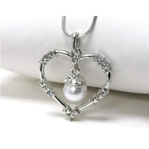 White Gold Plating Heart with Crystals and Pearl Dangle Pendant