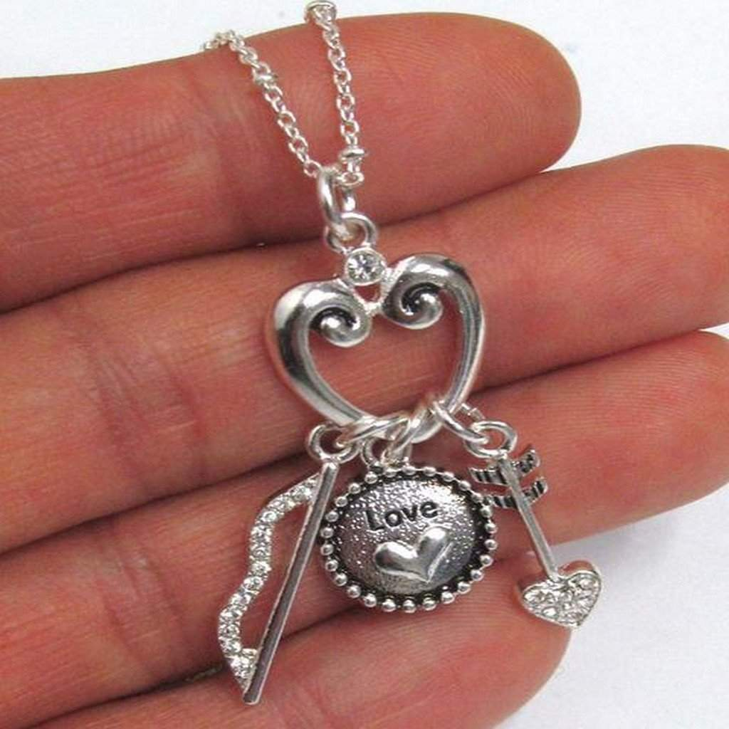 Bow, Arrow and  Love Silver Necklace - JaeBee