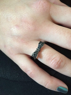 Black CZ Bow Sterling Silver Ring - JaeBee Jewelry