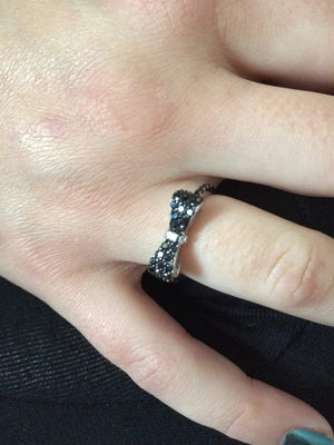 Black and Clear CZ Bow Sterling Silver Ring - JaeBee Jewelry
