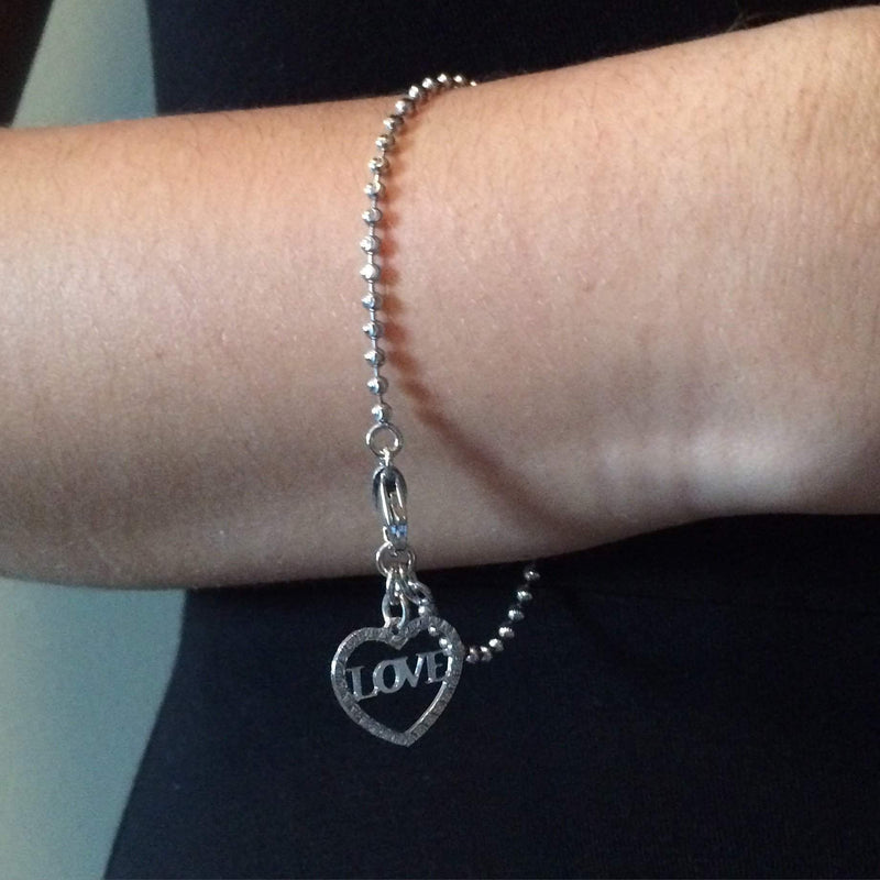 Sterling Silver Heart LOVE Charm Bracelet - JaeBee Jewelry