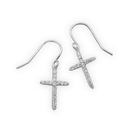 Sterling Silver and CZ Cross Drop Earrings