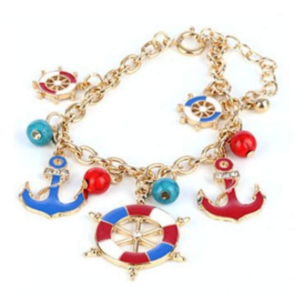 Nautical Red Blue and White Anchor and Ships Wheel Bracelet - JaeBee Jewelry