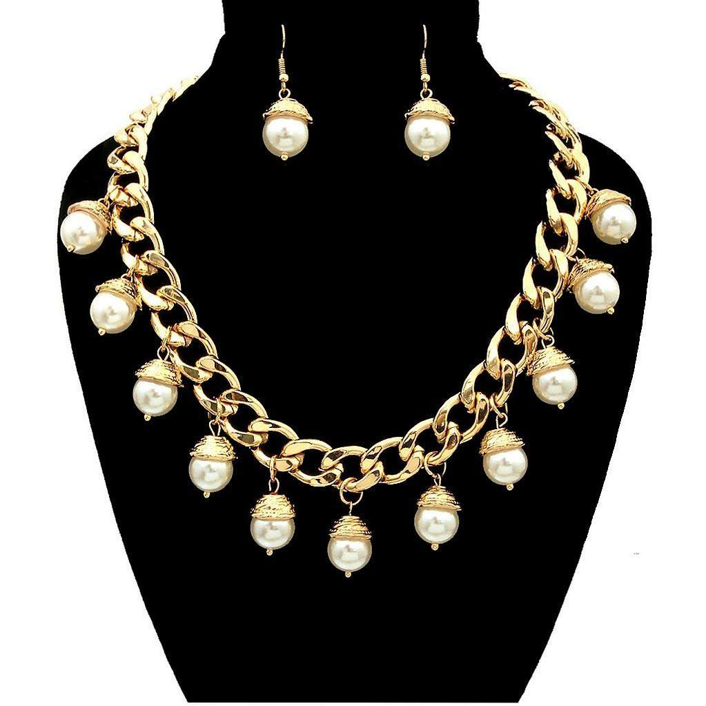 Pearl Drop Gold Chain Necklace