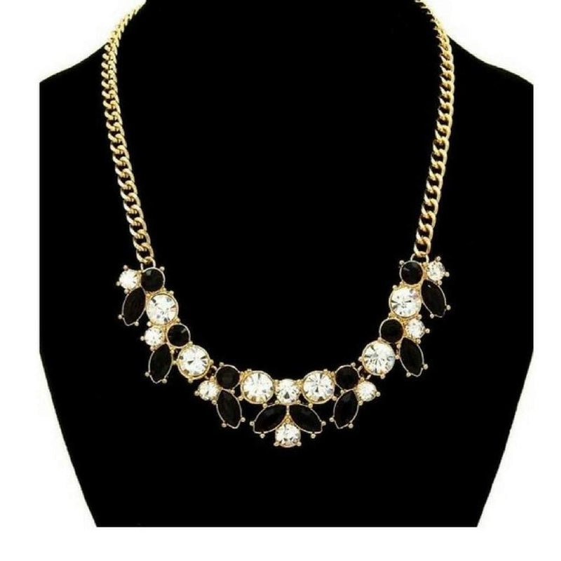 Black and Clear Crystal Statement Necklace - JaeBee
