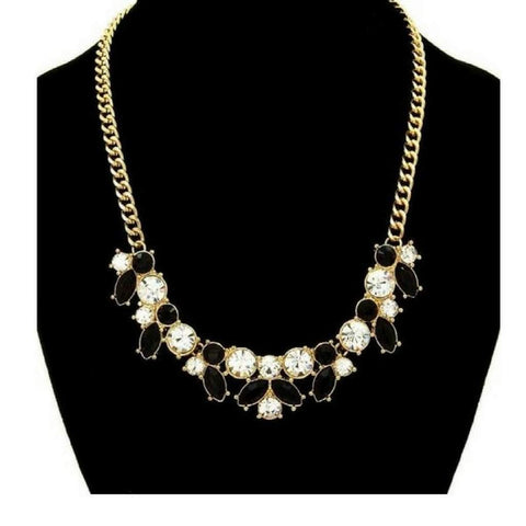 Black and Clear Crystal Statement Necklace