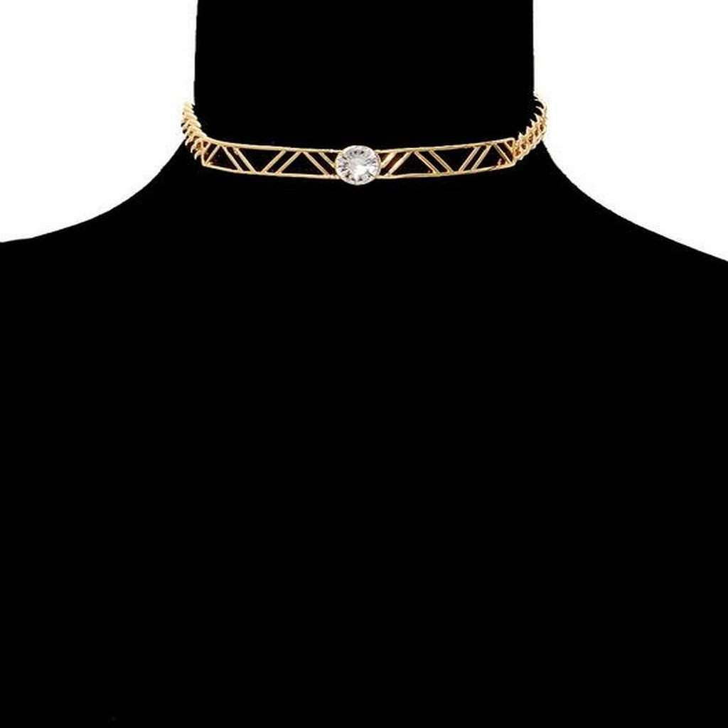 Gold Chain and Stone Choker - JaeBee Jewelry