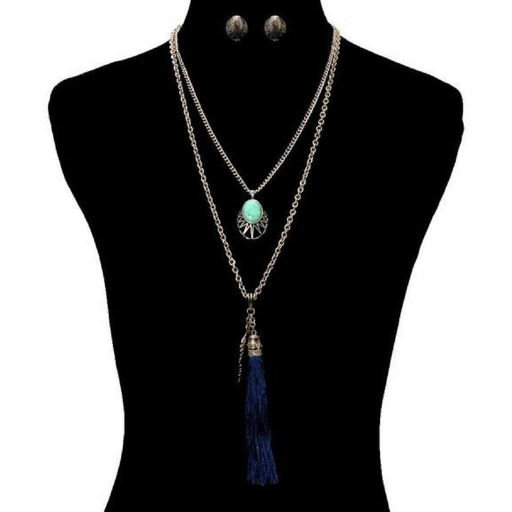 Long Layered Navy Blue Tassel and Silver Leaf Necklace
