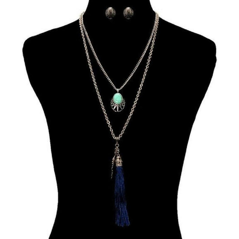 Long Layered Navy Blue Tassel and Silver Leaf Necklace - JaeBee Jewelry