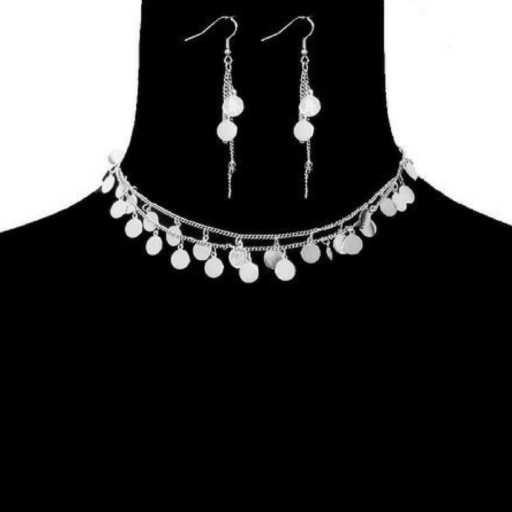 Silver Disc Double Strand Choker - JaeBee Jewelry
