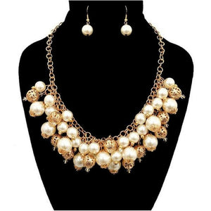 Pearl and Gold Beaded Statement Necklace - JaeBee