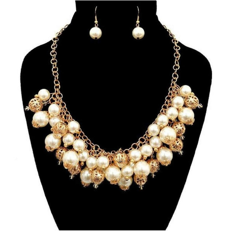 Pearl and Gold Beaded Statement Necklace